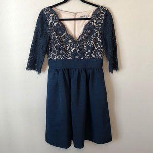 Eliza J Navy Blue Lace 3/4 Sleeve Cocktail Dress